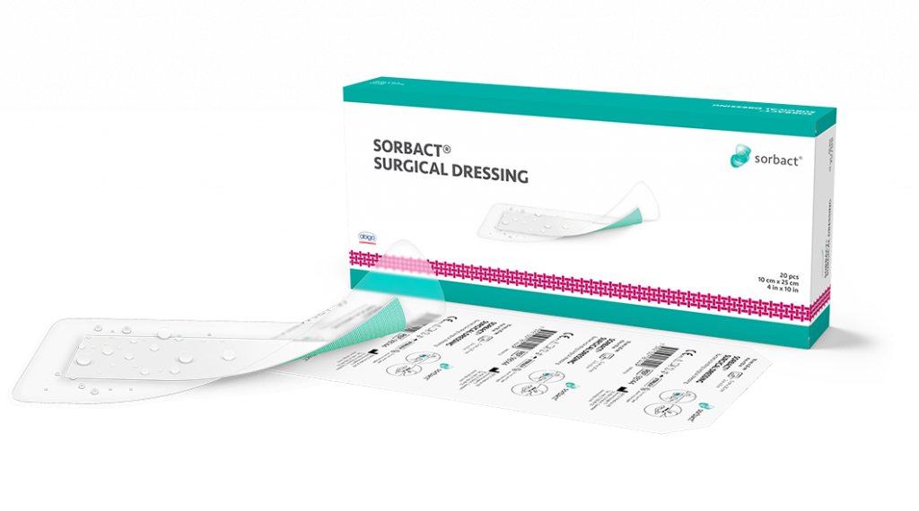 Sorbact Surgical Dressing single product with primary and secondary product packaging