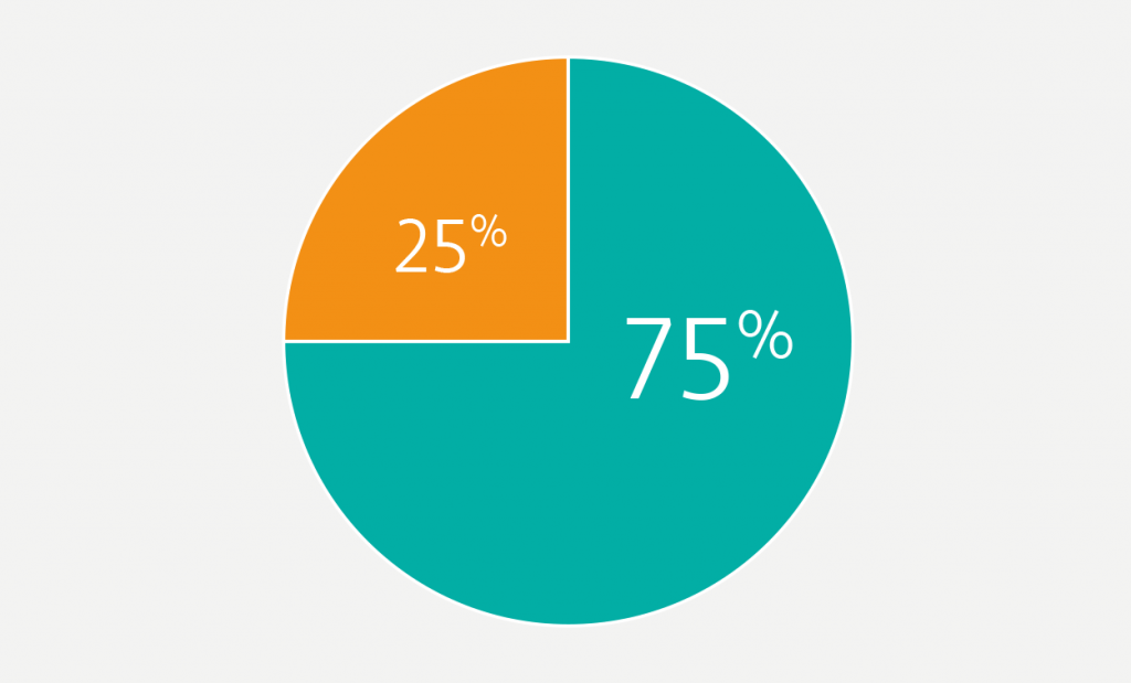 Pie charts shows 75% in turquoise and 25% in orange.